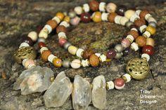 Collier de mookaite, perles de prière Raktu, hématite, os et quartz, par Tribu Urbaine Design® de la boutique TribuUrbaineDesign sur Etsy