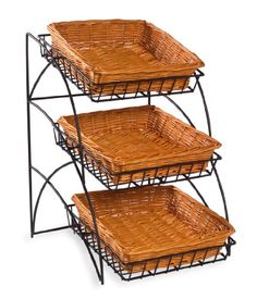 """Wire Display Rack for Countertop, Includes 3 Removable Wicker Baskets, 22.5""""h Display Stand - Black Wire Displays2go,http://www.amazon.com/dp/B0091V7Z0M/ref=cm_sw_r_pi_dp_3dR-sb0488TK8EHK"""