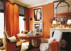 orange living room curtains gray and tan ideas 48 best drapes decor images shades blinds chairs this designed by jeffrey bilhuber goes all out with walls