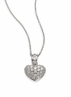 Roberto Coin Diamond & 18K White Gold Puffed Heart Pendant Necklace on shopstyle.com