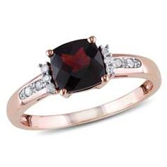 6.0mm Cushion-Cut Garnet and Diamond Accent Engagement Ring in 10K Rose Gold