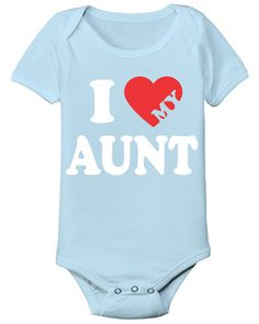 New Aunt Gifts for Her from the Baby Boy:  I Love My Aunt Heart Baby Onesie Bodysuit by Tees To You @ Etsy