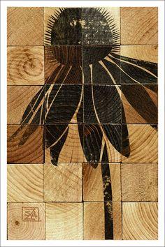 Wood Blocks Cone Flower Art by AtomicLodge