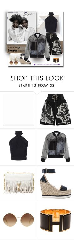 """Peek-a-boo"" by michelletheaflack ❤ liked on Polyvore featuring Rick Owens, Martin Grant, 3.1 Phillip Lim, Rebecca Minkoff, See by Chloé, Victoria Beckham, Hermès, bomberjackets and polyvorecontests"
