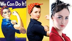 How to look like the most iconic working girl if you have long hair? Check out our Rosie the Riveter hair tutorial. Vintage Hairstyles For Long Hair, Vintage Hairstyles Tutorial, 50s Hairstyles, Bandana Hairstyles, Hairdos, Rosie The Riveter Hair, Rosie The Riveter Costume, 1950s Hair Tutorial, Retro Updo