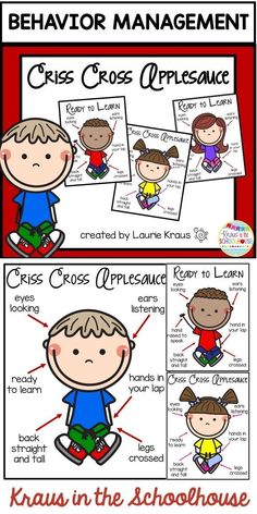 "These behavior management posters will be a wonderful visual for your students when they are sitting on the floor during carpet time or any other school activities. Students are reminded how to sit ""criss cross applesauce"" and show that they are ready to"