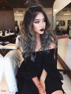 Grey ombré curly hair