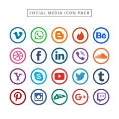 Colección flat de logotipos para redes sociales  Vector Gratis