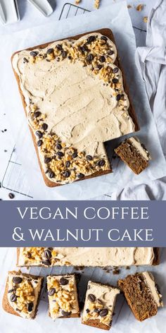 Vegan coffee and walnut cake – this easy coffee and walnut traybake cake is deliciously soft and moist. Topped with a cloud of light and fluffy coffee buttercream this is the perfect cake for serving a crowd. Healthy Vegan Desserts, Vegan Dessert Recipes, Vegan Treats, Cake Recipes, Coffee And Walnut Cake, Coffee Cake, Traybake Cake, Coffee Buttercream, Easy Coffee