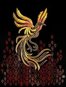 Berlin Embroidery Designs: GOLDWORK PHOENIX Added on the 1st of January 2015 The Phoenix is an intermediate counted thread and goldwork technique.