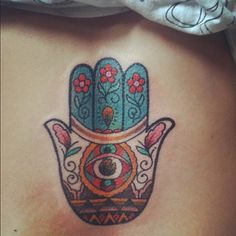 Hamsa tattoo. Brings happiness, luck, health and good fortune. to offer its owner happiness, peace, and prosperity, as well as protection from the ayin ha'ra, or the evil eye. The renewed interest in Kabbalah and mystical Judaism has brought the hamsa pendant back into vogue.