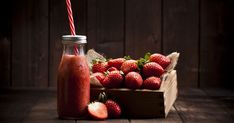 Horizontal shot of a strawberry smoothie in a glass bottle with a red. Strawberry Smoothie, Glass Bottles, Smoothies, Fruit, Red, Strawberry Milkshake, High Resolution Picture, Strawberry Fruit, Things To Do