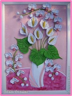 Картина панно рисунок День рождения Квиллинг Дуэт+mini МК Акварель Бумага гофрированная Бумажные полосы Проволока Соль фото 1