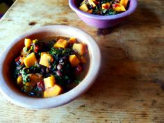 A hearty vegan chili stuffed full of butternut squash, tomatoes, black beans and spicy kale.