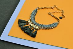 Hey, I found this really awesome Etsy listing at https://www.etsy.com/listing/237399927/black-tassel-necklace-fan-necklace-black