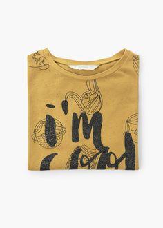 T-shirt estampado purpurina -  Criança   MANGO Kids Portugal