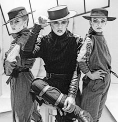 Welsh pop singer Steve Strange of British new romantic group Visage with two models at a photo shoot in St John's Wood in North London 8th July 1981