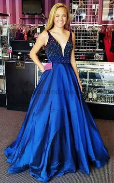 32336 A Line Beaded Taffeta V Neck Royal Prom Evening Gown Long  32336  Royal  9b2aa4766