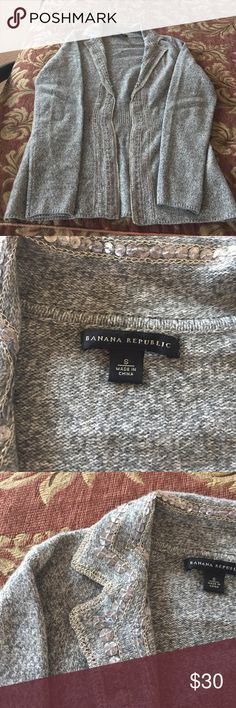 Banana Republic Sequined Gray Cardigan Gray lambs wool sequined open cardigan. EUC. Perfect for the holidays! Banana Republic Sweaters Cardigans