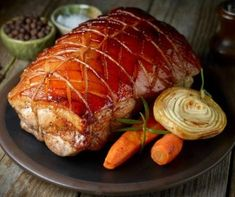 Betty Crocker's Heart Healthy Cookbook shares a recipe! A little chipotle and a little teriyaki make barbecued pork deliciously easy. Betty Crocker, Roast Pork With Vegetables, Pork Leg Roast, Healthy Cook Books, Grilled Beef, Pork Dishes, Paleo, New York Times, Onions