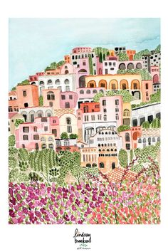 wanderlust map Positano Watercolor Art by Lindsay Brackeen Italy Illustration, Travel Illustration, Watercolor Illustration, Watercolor Art, Forest Illustration, Map Painting, Italy Painting, Italy Art, Italy Italy