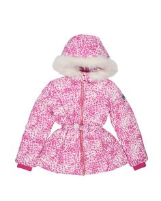 GIRLS FIERY LEOPARD PUFFER JACKET - Look fashionable while staying extra toasty in the Fiery Leopard Puffer Jacket. Thick and durable, it's the perfect piece to wrap yourself in during the cold weather months. A bright pink leopard print and faux fur trim adds a signature Juicy Couture touch for the fashionista in training.