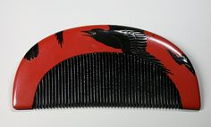 Peigne rouge au corbeau (2)