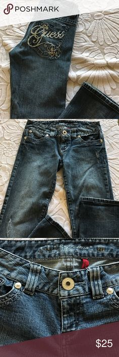 "⚡️Guess Daredevil Slight Bootcut Jeans 🚫 Offers❣️ 💋Guess Daredevil Slight Bootcut Jeans 🦋 Stretch Bootcut. Size: 27"" Waist. Inseam is approximately 31 1/2"" L. Guess insignia with rhinestone embellishments on the back pocket.  Distressed appearance on the front.  In EUC❣️ Guess Jeans Boot Cut"