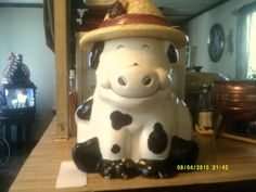 Vintage Certified International Cow with Hat Cookie Jar by SukeenasCrafts on Etsy