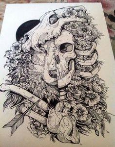 Wolf Child by WolfSkullJack on DeviantArt Tatoo Geek, Tatoo Art, Body Art Tattoos, Tattoo Drawings, Art Drawings, Ink Illustrations, Art And Illustration, Der Steppenwolf, Backpiece Tattoo