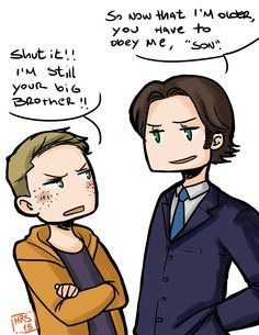 So funny in the last episode when the guy thought teenage Dean was Sam's son