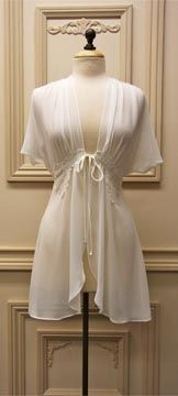cute short robe with a touch of lace     bridal lingerie, wedding night, honeymoon