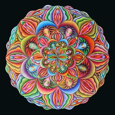 """Juicy Mandala""  ø 31cm watercolor pencils on paper 2015  Participatory Visions - Visionary Art Exhibition by www.hydrozen.info"