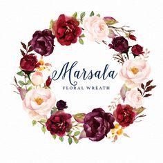 Watercolor floral Clip Art-Marsala Graphic by GraphicSafari Floral Wreath Watercolor, Watercolor Flowers, Clipart, Bild Gold, Floral Frames, Wedding Cards, Wedding Invitations, Wedding Clip, Flower Shop Design
