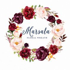 Watercolor floral wreath-Marsala/Individual PNG by GraphicSafari