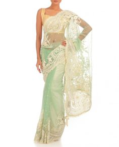 Mint Green Sari with Floral Embroidery & Faux Pearls