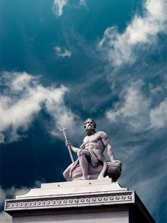 Poseidon is the brother of Zeus and Hades, each of them presiding over one of the three realms of Heaven, Earth and the Nether regions. Greek Gods And Goddesses, Greek And Roman Mythology, Greek Statues, Ancient Greek Sculpture, Roman Sculpture, Greek Art, Heroes Of Olympus, Renaissance Art, Ancient Greece