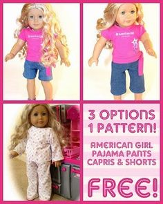 American Girl Dolls : Image : Description All Things With Purpose: American Girl Jeans//Capris//Shorts Pattern American Girl Outfits, American Girl Crafts, American Doll Clothes, American Girls, Sewing Doll Clothes, Baby Doll Clothes, Barbie Clothes, Children Clothes, Doll Sewing Patterns