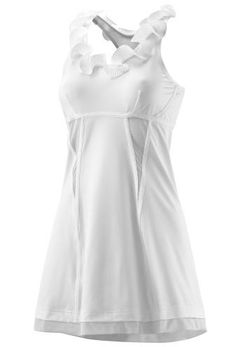 The choice for Caroline Wozniacki at the Australian Open Singles, the body-conscious adidas by Stella McCartney Tennis Dress 1 features a ruffled satin collar and mesh inserts throughout.