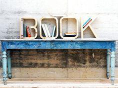wooden letters decor by we archdesign, book-b-o-o-k-storage-shelving {via design-milk,com} Book Letters, Wooden Letters, Cool Bookshelves, Book Shelves, Bookshelf Ideas, Bookcase, Vintage Bookshelf, Wooden Shelves, Deco Studio