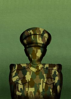 """@Sara Gironi Carnevale - """"The Return Of The Men In Green"""", illustration for The Washington Post Outlook section."""