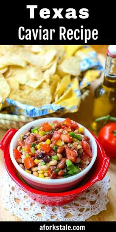 Texas Caviar is a delicious combination of mixed beans, tomatoes, corn, onion, peppers, that is tossed in a vinaigrette. Eat it with chips or straight out of the bowl. #TexasCaviar #salsadip #beandip