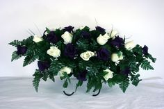 Beautiful Dark Purple and White Roses Silk Flower Cemetery Tombstone Saddle #Crazyboutdeco