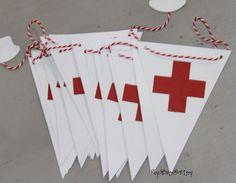 Nurse. Healthcare. EMT. Doctor. Party. Red Cross Banner.