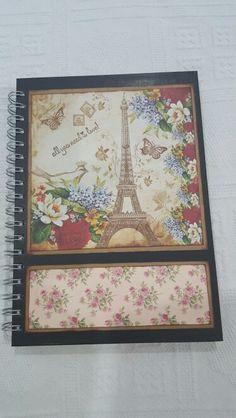 Caderno decorado com a técnica de scrap