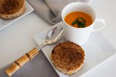 Peter Som's Roasted Carrot Veloute with Mini Grilled Cheese #food #soup #appetizers