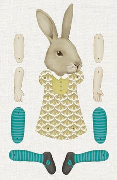bunny paper doll - Just print, cut, and stick together with brads.    Maybe glue to cardboard to make it more durable?