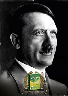 Can You Guess Why Hitler Is Smiling?  He just got some relief from a common ailment.Senokot is a laxative.  That's some unconvincing Photoshop work there.  Der Führer has been in ads for everything from deodorant to herbal tea