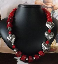 WOW!  Stunning Asymmetrical Southwest Coral and Heart Necklace