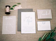 Simple wedding invitations by @scoutandlilly // Alpaca farm wedding inspiration on 100 Layer Cake